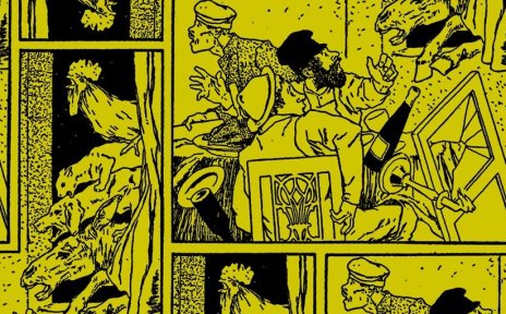Illustration der Bremer Stadtmusikanten und den Räubern