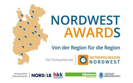 """Logo mit grafischer Darstellung der Nordwest-Region und Schriftzug: """"NordWest Awards - Von der Region für die Region"""""""