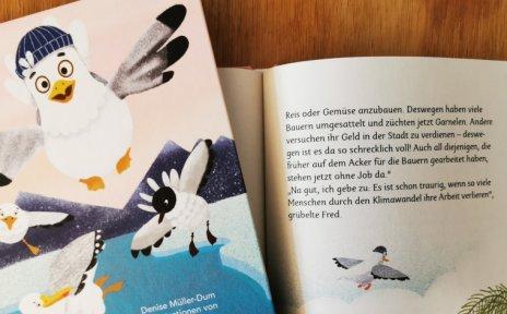 Kinderbuch mit einer Möwe auf dem Titel
