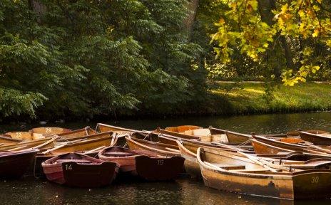 Holzboote auf dem Wasser in herbstlicher Landschaft, Quelle: Michael Becker/MicBeck