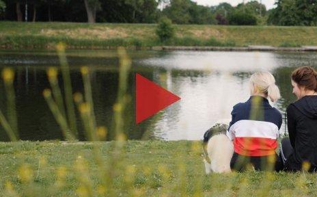 Zwei Personen sitzen mit einem Hund auf einer Wiese am Rande eines Sees. In der Mitte des Bildes befindet sich ein rotes, dreieckiges Symbol, das nach rechts zeigt.
