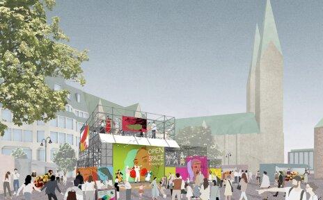 Grafische Darstellung des temporären Bauwerks auf dem Domshof mit Zuschauer*innen im Vordergrund.