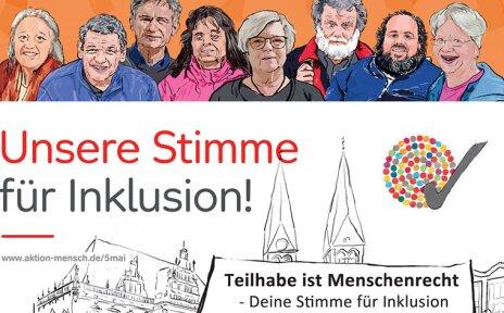 """Die Grafik zeigt acht Menschen, die hinter einem Plakat stehen. Auf dem Plakat sieht man das Bremer Rathaus, die zwei Türme des Bremer Doms und ein Stück der Bremischen Bürgerschaft. Außerdem befindet sich auf dem Plakat der Schriftzug: """"Unsere Stimme für Inklusion! Teilhabe ist Menschenrecht - Deine Stimme für Inklusion""""."""