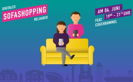"""Grafik im Comicstil, Mann steht hinter einer gelben Couch und hält ein Smartphone in der Hand, Frau sitzt auf der Couch und hält ebenfalls ein Smartphone in der Hand, Schriftzug """"Digitales Sofashopping reloaded"""" und """"featuring Couchbummel"""""""