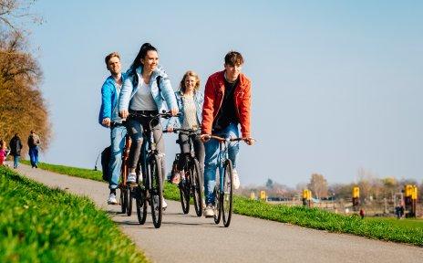 Vier junge Menschen bei klarem Himmel auf ihren Fahrrädern