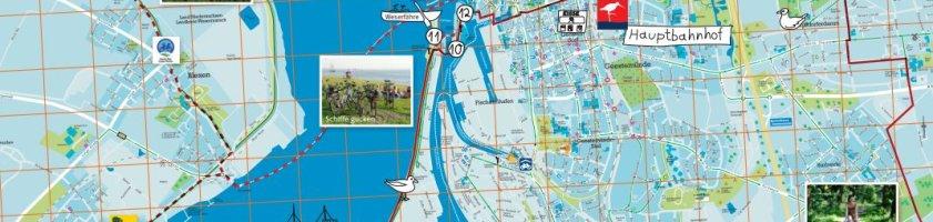 Kartenausschnitt von Bremerhaven mit eingezeichneter Tour durch die Umgebung.