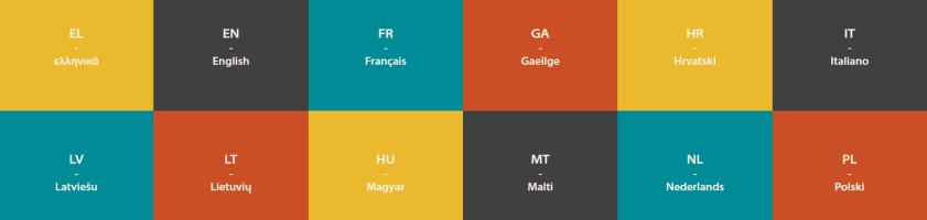 Bunte Kacheln zur Auswahl einer bestimmten Sprache