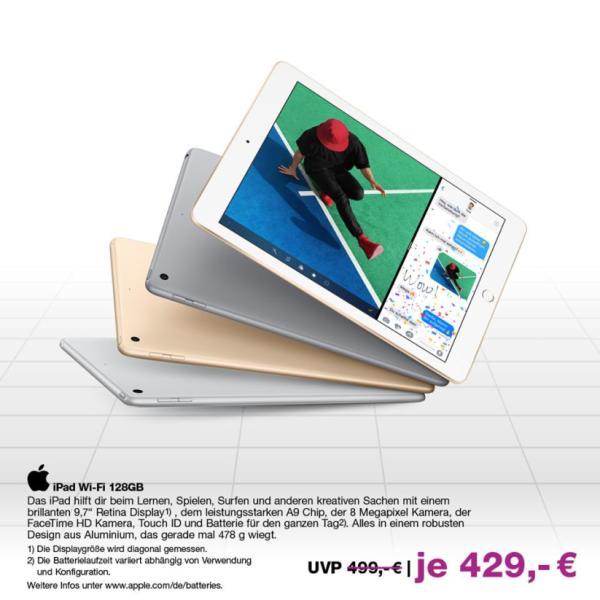Angebot: APPLE iPad Wi-Fi mit riesigem 128GB Speicher für nur 429.-