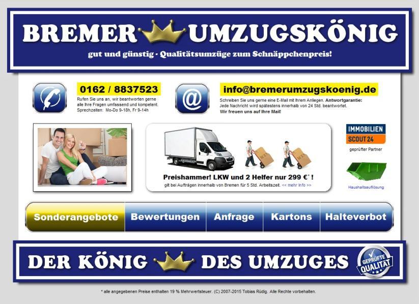 Angebot: Umzug zum Schnäppchenpreis beim Bremer Umzugskönig