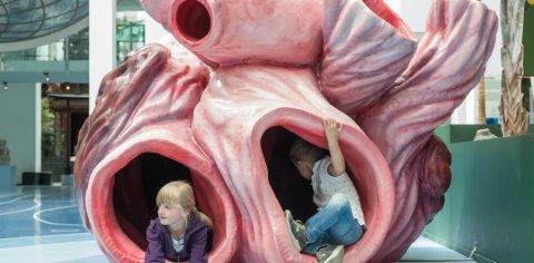 Zwei Kinder spielen in einem Blauwalherz Modell
