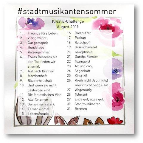 Zeichnung mit floralen Motiven und den Ohren der Bremer Stadtmusikanten in Aquarelltechnik. Darauf gedruckt ist eine Liste mit Begriffen für jeden Tag im August.