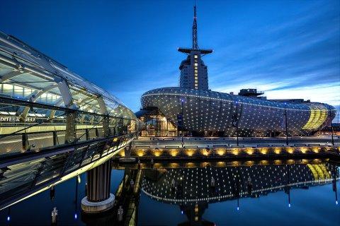 Klimahaus Bremerhaven Außenansicht Nacht