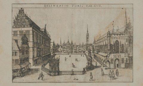 Alte Ansicht des Bremer Marktplatzes um 1600; Quelle: Renner-Chronik/Staatsarchiv Bremen