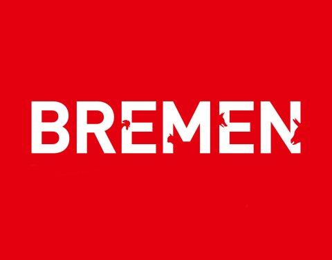 Bremen Schriftzug in rot und weiß.
