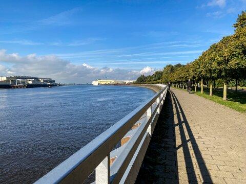 Ein langer Weg führt entlang der Weser. Auf der rechten Seite sind Bäume gepflanzt und der Himmel ist strahlend blau.