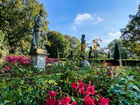Zwei Skulpturen stehen in einem Rosenbeet.