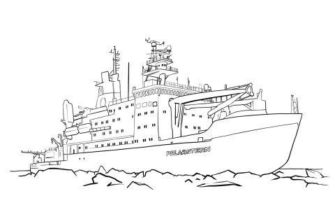 Das Forschungsschiff Polarstern zum Ausmalen