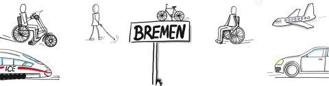 Eine Sketchnote, also eine digitale schwarz-weiß-Zeichnung, zeigt wie ein Zug, ein Handbike, ein Mann mit Langstock, ein Fahrrad, ein Flugzeug und ein Auto sich auf das Ortsschild Bremen zu bewegen.