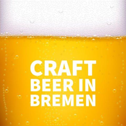 Großaufnahme von Bier mit Blume mit Aufschrift Craft Beer in Bremen