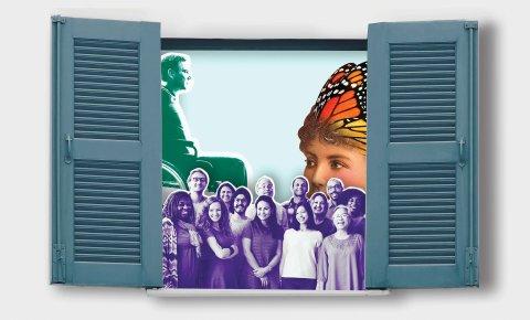 Collage zur neuen Ausstellung. Hinter einem Fenster mit geöffneten Fensterläden werden im Vordergrund mehrere Personen sichtbar. Im Hintergrund sitzt ein Mann in einem Rollstuhl, das Gesicht eines Kindes trägt eine Schmetterlings-Krone.