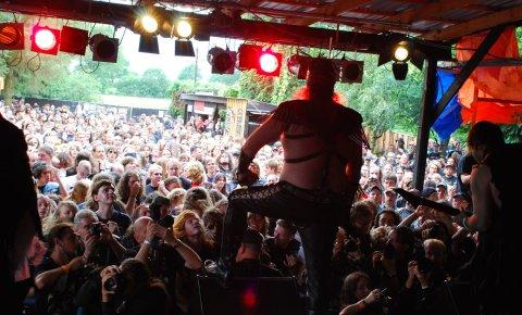 Man blickt von der Bühne aus in die Festivalmenge und sieht ein großes Bandmitglied von hinten.
