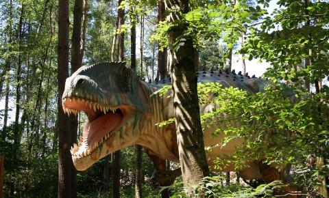 Lebensgroßes Modell eines Giganotosaurus zwischen Bäumen.
