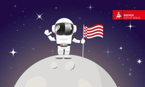 Ein Astronaut steht mit Speckflagge auf dem Mond.