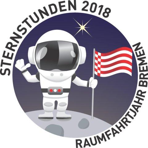 Ein Zeichentrick-Astronaut steht mit Speckflagge auf dem Mond.