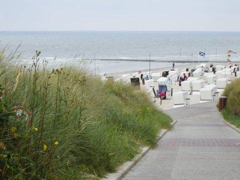 Strandweg mit Blick auf das Meer