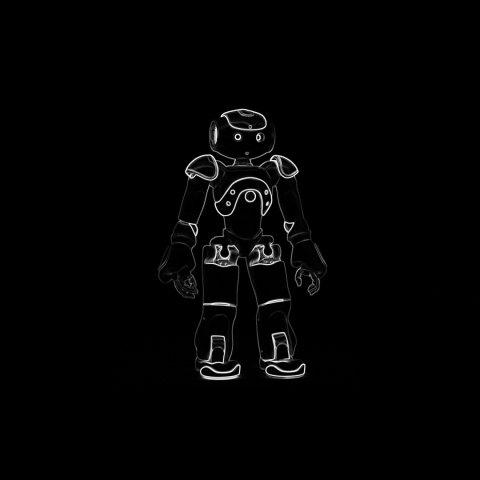 Die Zeichnung eines Roboters auf schwarzen Hintergrund