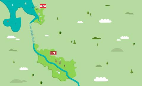 Grafik zeigt Umrisse von Bremen und Bremerhaven verbunden durch die Weser