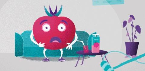 Tomate auf einer Couch