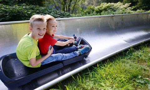 Zwei Kinder auf der Sommerrodelbahn im Spielpark Wingst.