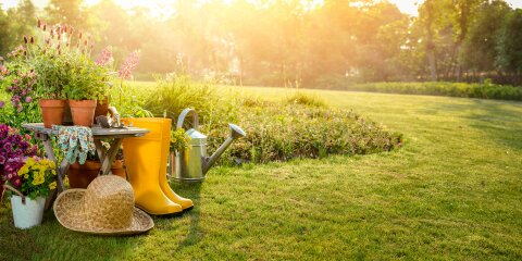 Über einem Garten geht gerade die Sonne unter. Vorne steht ein kleiner Tisch mit Blumen. Daneben stehen Gummistiefel und Gartengeräte.