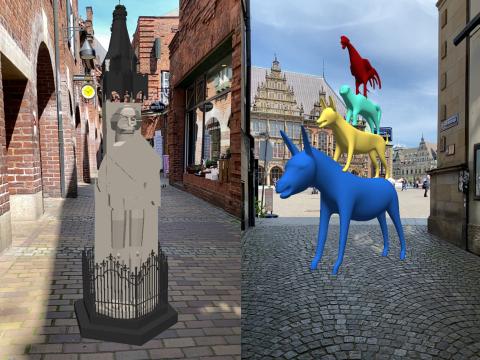 Ein 3D Modell der Stadtmusikanten und der Roland sind in der Innenstadt platziert.