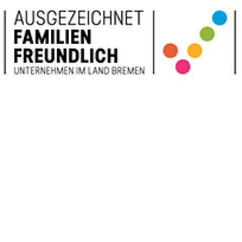 Logo mit Schriftzug: Ausgezeichnet familienfreundlich - Unternehmen im Land Bremen