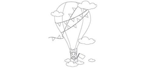 Das Ausmalbild zeigt einen Mensch im Heißluftballon über den Wolken.