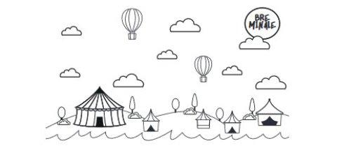 """Das Ausmalbild zeigt eine Wiese am Wasser mit vielen Zelten. Am Himmel ist eine Sonne mit der Aufschrift """"Breminale"""" zu sehen."""