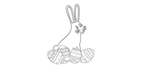 Das Ausmalbild zeigt einen Hasen mit Ostereiern.