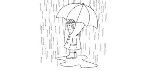 Das Ausmalbild zeigt ein Kind im Regen mit Regenschirm.