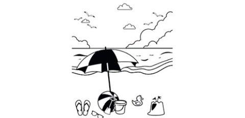 Das Ausmalbild zeigt einen Strand am Meer mit Sonnenschirm und verschiedenen Bade- und Spielutensilien.