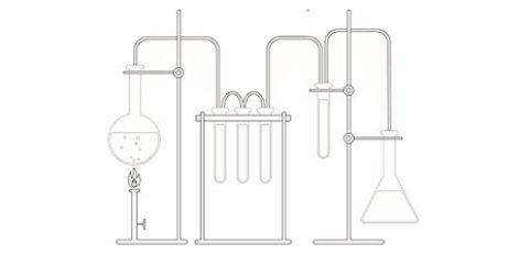 Das Ausmalbild zeigt den Aufbau eines chemischen Experiments.