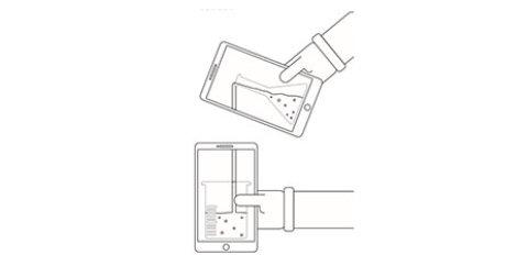 Das Ausmalbild zeigt ein Experiment mit zwei Smartphones.