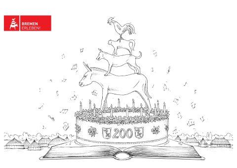 Malvorlage mit aufgeschlagenem Buch auf dem eine Geburtstagstorte steht, auf der die Bremer Stadtmusikanten platziert sind. Im Hintergrund sind die Zelte der Breminale auf dem Deich zu sehen.