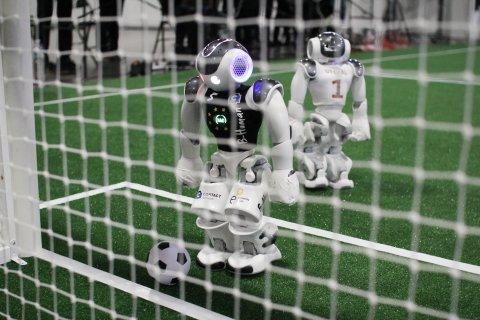 Fussball-Roboter mit Ball kurz vorm Tor
