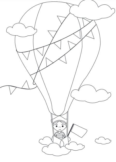 Ballonfahrt, Ausmalbild