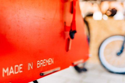 Velo Lab Lastenradkiste mit dem Schriftzug Made in Bremen