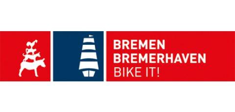 Rot-weißes bike it!-Logo für Bremen und Bremerhaven.