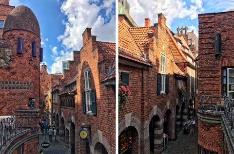 Collage zweier Bilder zeigt den Ausblick vom Balkon des Paula Modersohn-Becker Museums sowohl in die eine, als auch in die andere Richtung. Zu sehen sind die architektonisch besonderen Backstein-Gebäude der Straße.