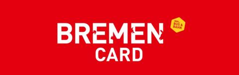 Das Logo der BremenCARD mit weißer Schrift auf rotem Hintergrund.